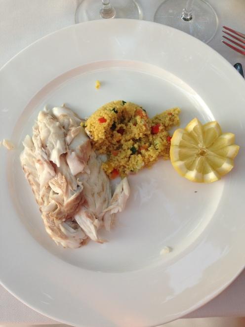 Loup de mer und Gemüse Couscous Salat