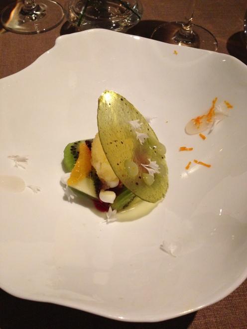 Yuzu Creme, Kiwi, Himbeere und Bergamotten Gelee