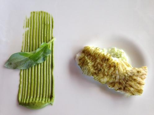 Seehecht mit Algen, Plankton und Austernblatt