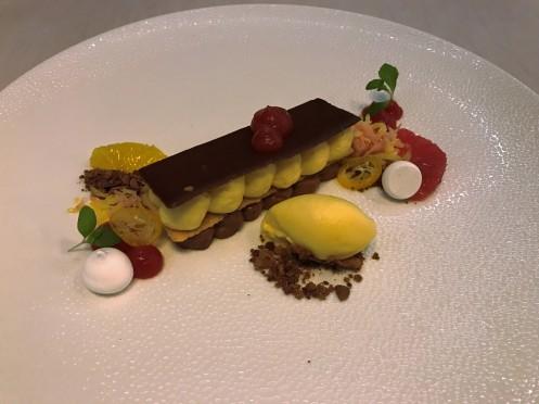 Schokolade vom Felchlin mit Zitrusfrüchten und Mandarinensorbet